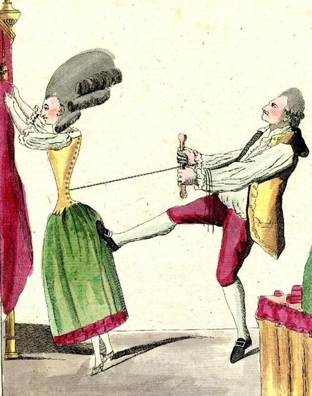 Le tailleur de corps anglois montrant la manière de faire une belle taille', 1770-1779. Anonymous French satire showing a tailor pulling tight the corset of an Englishwoman