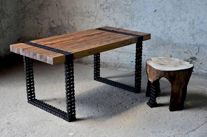 Как сделать кофейный столик из ржавых цепей и старых до ...
