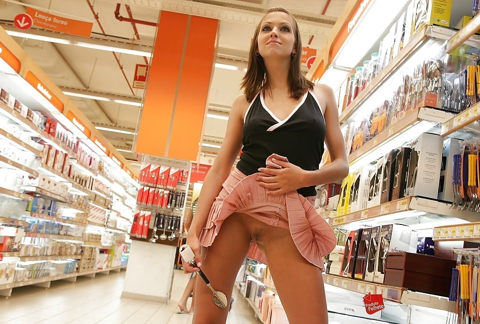 Naughty Ladies Flashing Pussies In Store