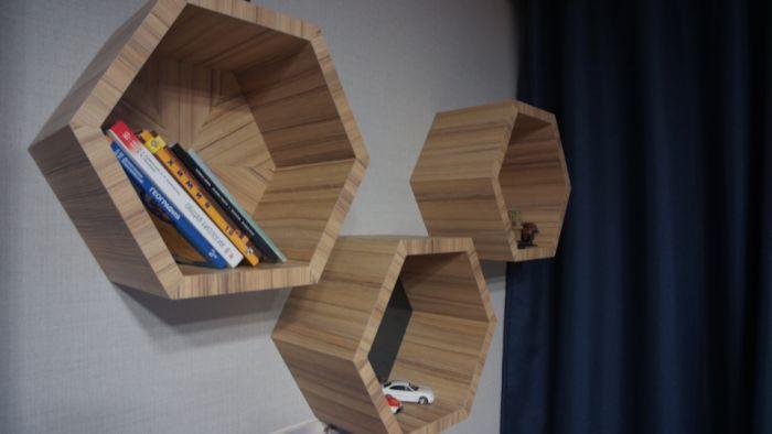 Шестигранные полки для книг Как это сделано