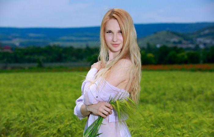 Девушка дня в чистом поле на природе